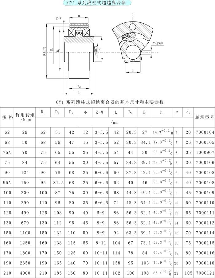 CY1型滚柱式逆止器